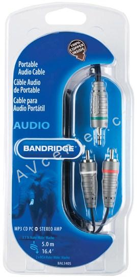 Bandridge Jack 3,5mm -  2xCINCH - 5 m